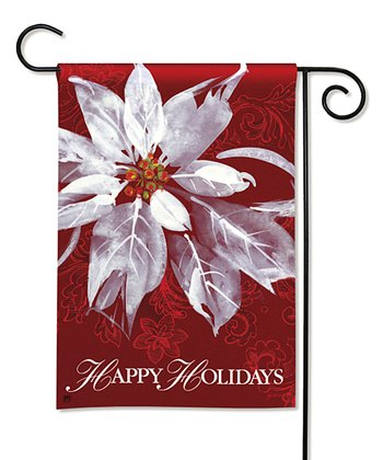 White Poinsettia Garden Flag