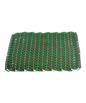 Bright Green & Red Flat Rope Christmas Floor Mat