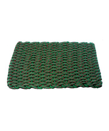 Woven Green & Red Flat Rope Christmas Floor Mat