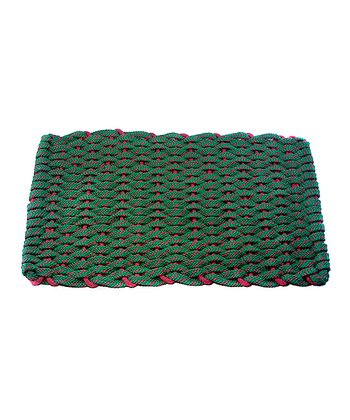 Evergreen & Red Flat Rope Christmas Floor Mat