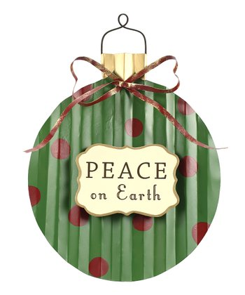 Green & Red 'Peace' Polka Dot Decorative Sign