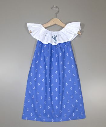 Blue Anchor Initial Ruffle Yoke Dress - Infant, Toddler & Girls