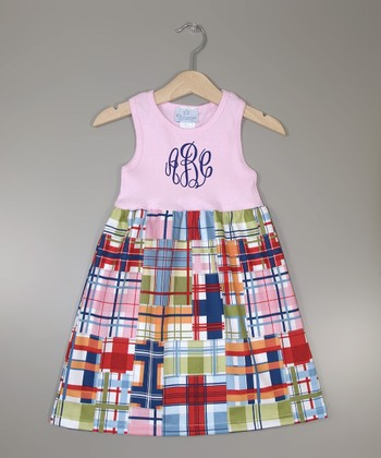 Pink Plaid Monogram A-Line Dress - Infant, Toddler & Girls