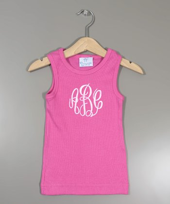 Raspberry Monogram Tank - Infant, Toddler & Girls