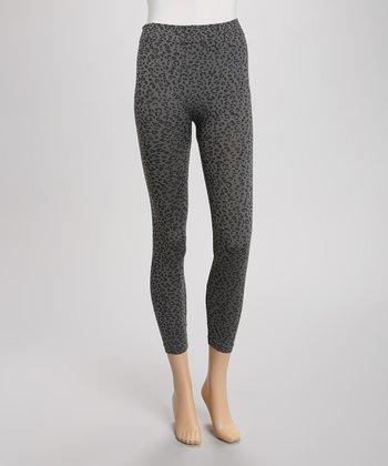 Gray & Black Leopard Seamless Leggings