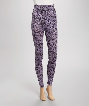 Lavender & Black Wallpaper Leggings