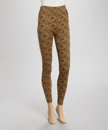 Gold & Black Floral Seamless Leggings