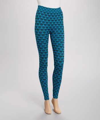 Blue & Black Geometric Seamless Leggings