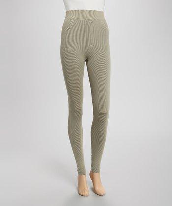 Khaki Ribbed Seamless Leggings
