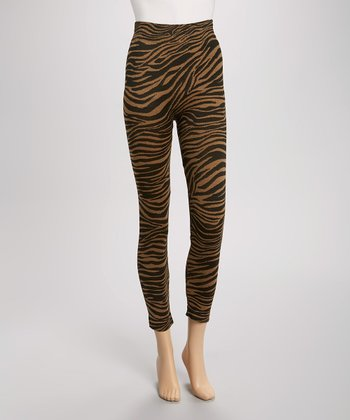 Gold & Black Zebra Seamless Leggings