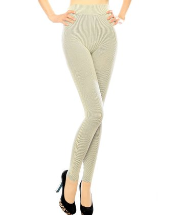 Beige Ribbed Seamless Leggings