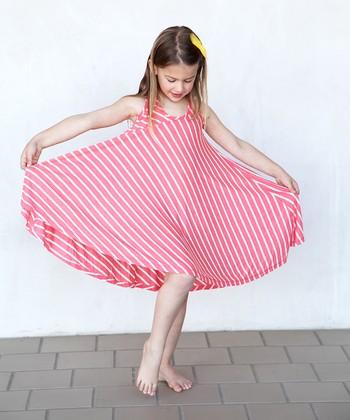 Coral Stripe Twirl Dress - Girls