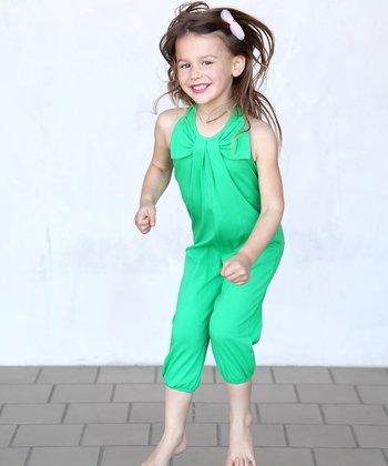 Green Bow Halter Playsuit - Toddler & Girls