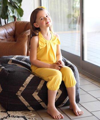 Yellow Bow Halter Playsuit - Toddler & Girls