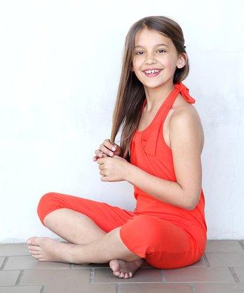 Orange Bow Halter Playsuit - Toddler & Girls