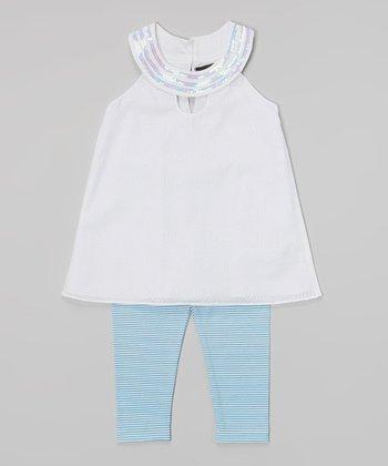 White Sequin Yoke Tunic & Blue Stripe Leggings - Girls