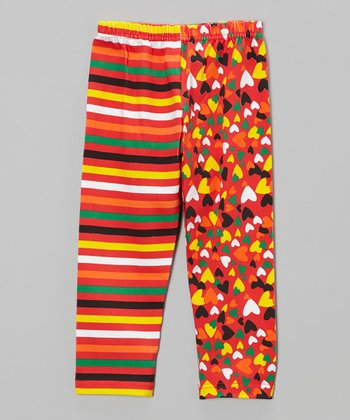 Orange Stripe & Heart Leggings - Infant, Toddler & Girls