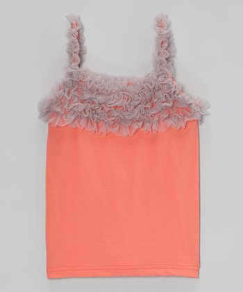Salmon & Gray Ruffle Camisole - Toddler & Girls