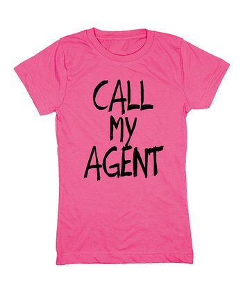 KidTeeZ Raspberry 'Call My Agent' Fitted Tee - Girls