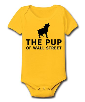 KidTeeZ Yellow 'The Pup of Wall Street' Bodysuit - Infant