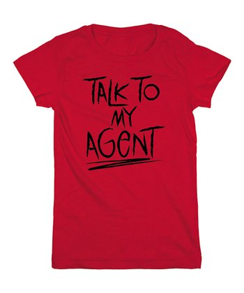 KidTeeZ Red 'Talk to My Agent' Fitted Tee - Girls