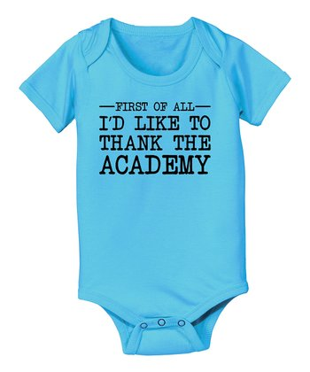 KidTeeZ Turquoise 'Thank the Academy' Bodysuit - Infant