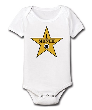 KidTeeZ White 'One Month' Walk of Fame Bodysuit - Infant