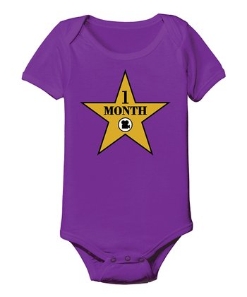 KidTeeZ Purple 'One Month' Walk of Fame Bodysuit - Infant