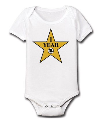 KidTeeZ White 'One Year' Walk of Fame Bodysuit - Infant