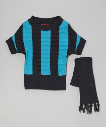 Black & Blue Stripe Sweater & Scarf - Toddler & Girls
