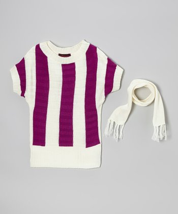 Purple & Cream Stripe Sweater & Scarf - Toddler & Girls