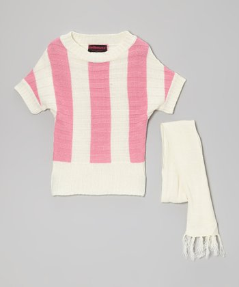 Pink & Cream Stripe Sweater & Scarf - Toddler & Girls