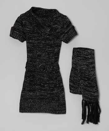 Black Sparkle Belted Split-Neck Sweater Dress & Scarf - Girls