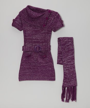 Purple Sparkle Belted Split-Neck Sweater Dress & Scarf - Girls