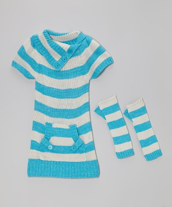 Blue & Gray Stripe Pocket Sweater Dress & Arm Warmers - Girls
