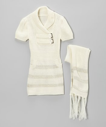 Cream Stripe Buckle Sweater Dress & Scarf - Girls