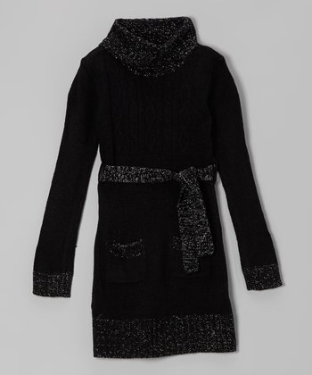 Black Sparkle Cable-Knit Belted Sweater Dress - Toddler & Girls