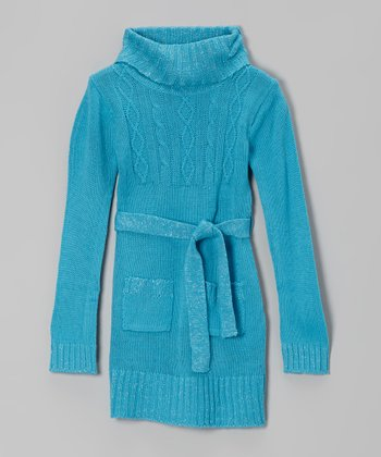Blue Sparkle Cable-Knit Belted Sweater Dress - Toddler & Girls