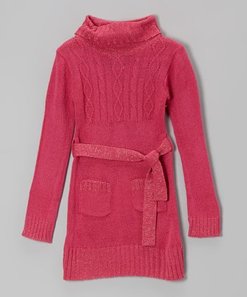 Pink Sparkle Cable-Knit Belted Sweater Dress - Toddler & Girls