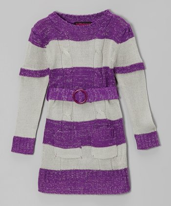 Purple & Gray Stripe Layered Sweater Dress - Toddler & Girls