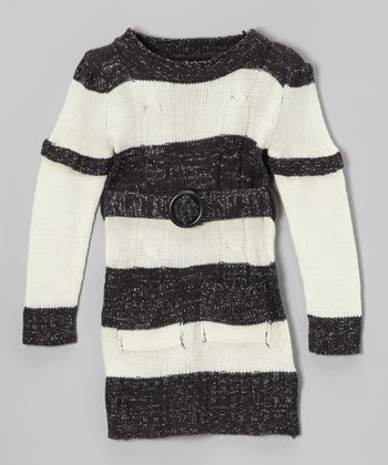 Black & Cream Stripe Layered Sweater Dress - Toddler & Girls