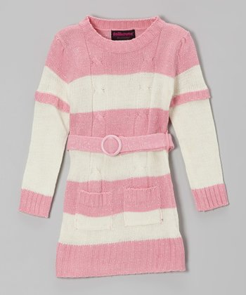 Pink & Cream Stripe Layered Sweater Dress - Toddler & Girls