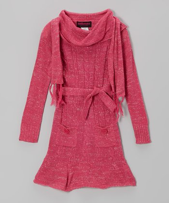 Pink Sparkle Cowl Neck Sweater Dress & Scarf - Girls