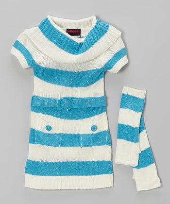 Blue Stripe Sweater Dress & Arm Warmers - Toddler & Girls
