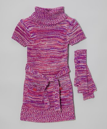 Pink Turtleneck Sweater Dress & Arm Warmers - Infant & Girls