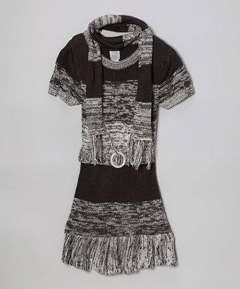 Gray Ruffle Sweater Dress & Scarf - Infant, Toddler & Girls