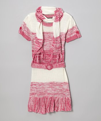 Pink Ruffle Sweater Dress & Scarf - Infant, Toddler & Girls