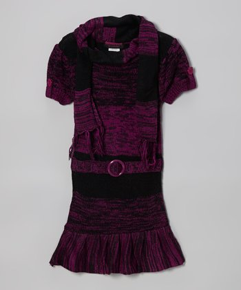 Purple Ruffle Sweater Dress & Scarf - Infant, Toddler & Girls