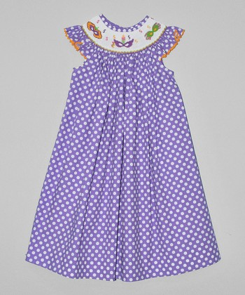 Purple Polka Dot Masks Bishop Dress - Infant, Toddler & Girls