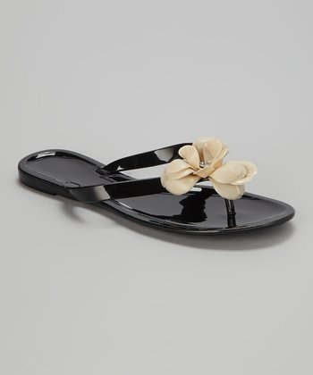 Black & Natural Flower Rose Jelly Sandal